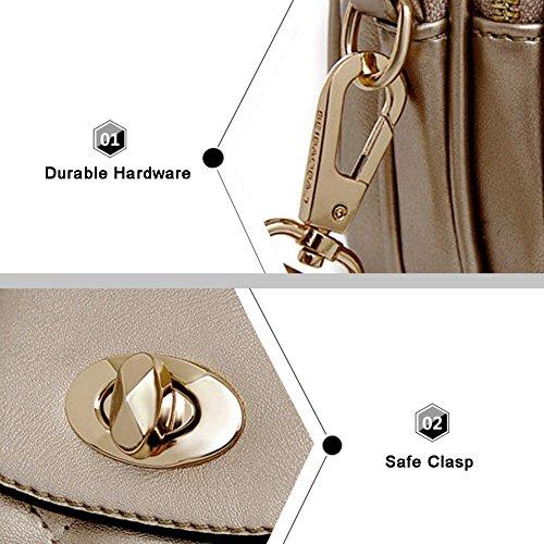 Yoome Damen Alley Style Retro Fold Tasche Kleine Taschen Für Make-up Kreis Crossbody Geldbörse Für Mädchen - Marine Gold