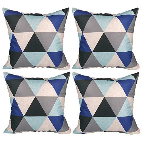 Luxbon 4 Stück modern Geometrische Dreieck dauerhaft Leinen Kissenbezug Lendenkissen Cafe Haus Garten Deko 18 x 18 \'\' 45 x 45 cm