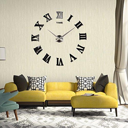 Whjy moderno orologio da parete numeri romani orologio personalizzabile e componibile diy acrilico 3d specchio decorativo superfici adesivo per casa ufficio hotel ristorante ottimo regalo [classe di efficienza energetica a+]
