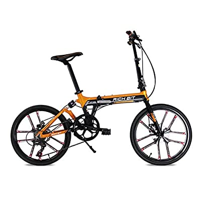 Folding bike MTB free style Road Bike Comfort bike Orange 20inch 7 speeds Suspension Aluminum Frame magnescium integrated wheel Disc Brakes 2016 New Updated TP-023-451