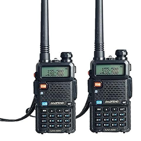 Lot de 2Radio à double bande BaoFeng UV-5R modèle VHF/UHF 136–174MHz et 400–520MHz Système Radio portable (5couleurs)