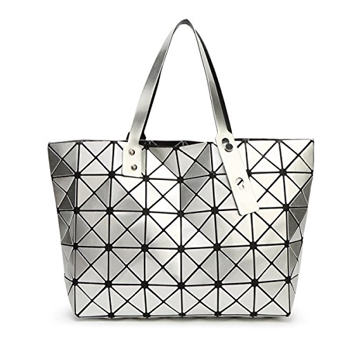 Damen Umhängetasche Handtasche Geometrie Faltenpaket Gesteppte silver