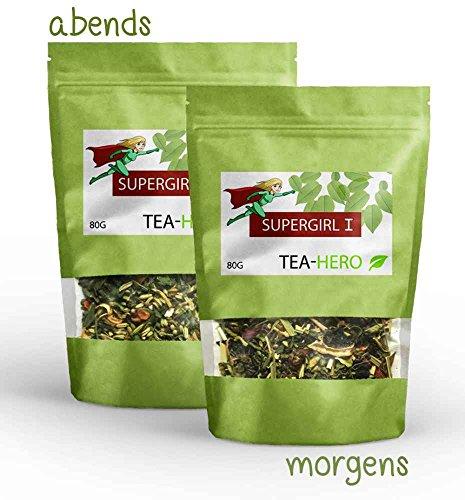 4 WOCHEN DETOX KUR, Detox Tee Set von teahero - unterstützt deine Diät oder Fastenkur, abnehmen, 2x 80g, für morgens und abends, grüner Tee, Tulsi, Ingwer, Morgina, loser Tee, zuckerfrei & vegan
