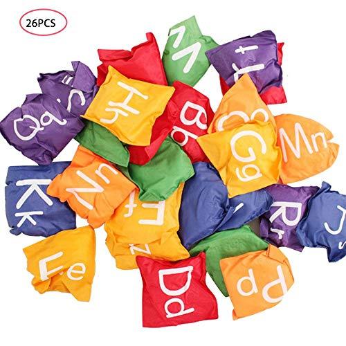 Suppemie Sitzsack Wurfspiel Bean Bag Set Toss Game Nylon Sitzsäcke Set Mit Englischen Buchstaben Für Kinder, 26 Bean Bags, Geschicklichkeitsspiel, Indoor & Outdoor, Mehrfarbig