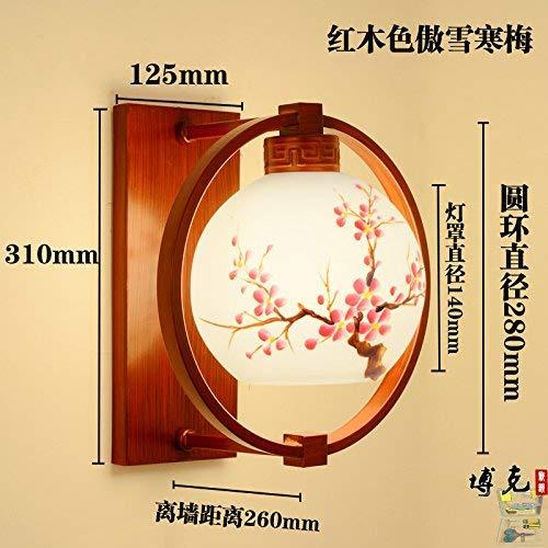 Oudan chinesischer Stil Wandlampe Schlafzimmer Nacht Antik Wohnzimmer Korridor Flur Veranda Balkon Treppe Eisen Glas Lampe, Mahagoni Farbe Stolz Schnee Rote Pflaume
