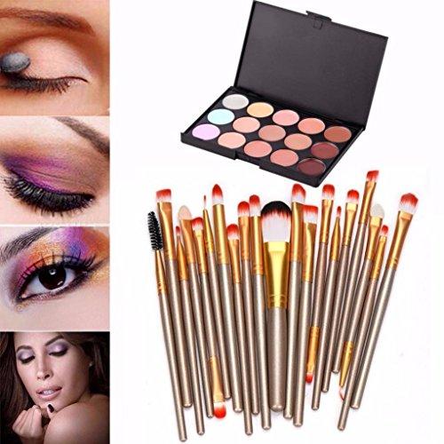 Internet 15 couleurs Professional Crème Contour visage Maquillage Correcteur Palette + 20 Brosses