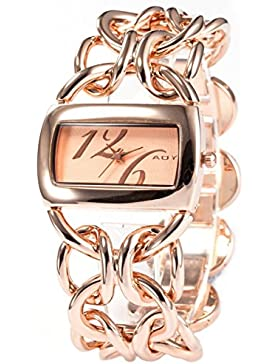 AMPM24 Fashion Damenuhr Rose Gold Armreif Quarzuhr Damen Uhr Edelstahl Armbanduhr