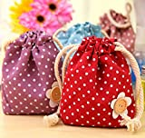 SUNSWEI 4 Pack Polka Dot Mini Canvas Drawstring Bags Coin Purses Organize Storage Pouches for Cosmetics and Any Small Accessories
