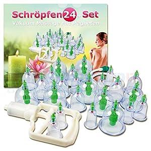 Massage Schröpfen Set mit 24 Schröpfgläser aus Kunststoff mit Vakuumpumpe mit Magneten