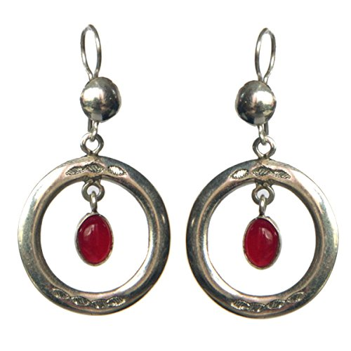 bijoucolor - Bijoux Touareg Ethniques Boucles d'Oreilles en Argent ronde et perle de jade rouge -...