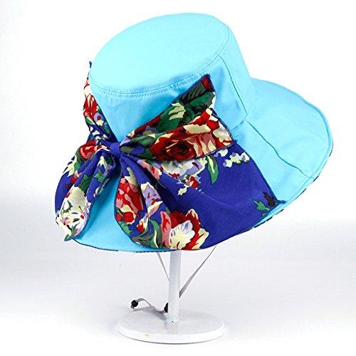 chapeau de soleil Chapeau de plage Floral Large Le long du chapeau de soleil à curling pliable ( Couleur : Beige ) Lake blue