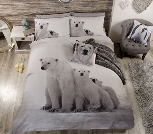 POLAR BEAR Quirky Photographic Print DUVET COVER. Double Bed Size. By Bedding Heaven
