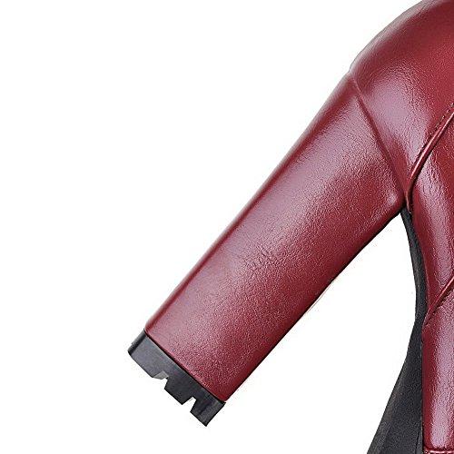 AllhqFashion Damen Blockabsatz Pu Leder Hoher Absatz Reißverschluss Rund Zehe Stiefel Rot
