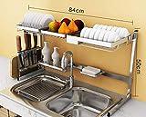Estante de cocina Horno de microondas Estante Cocina Acero inoxidable Escurreplatos...