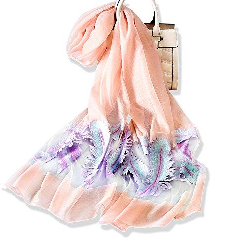 YFZYT Sommerschals Damen Mode Organza weichen Schal Schal Hals Wrap Kopftuch Stola, Anti-UV Feder Stickerei Muster Chiffon Seidenschal Schal - Orange Rosa Rosa Chiffon Wrap