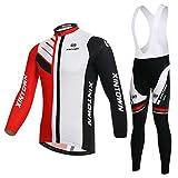 SKYSPER Maillot de Cyclisme Set Maillot de Manches Longues + Pantalons Homme Automne/Hiver Cyclisme Vêtements Respirant Séchage Rapide