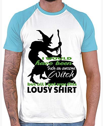 Awesome Herren Kostüm - HARIZ  Herren Baseball Shirt I Would Have Been An Awesome Witch Halloween Kostüm Verkleidung Umhang Plus Geschenkkarten White/Atoll Blue L