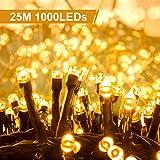 Quntis 1000Leds 25M Lichterkette mit Stecker Warmweiß, Innen und Außen mit Stecker, 8 Modi, Wasserdicht, Beleuchtung für Weihnachten, Deko, Party, Hochzeit, Geburtstag, Terrasse, Balkon, Garten, Baum