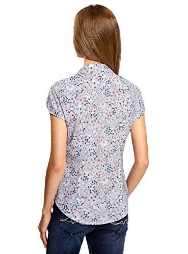 oodji Ultra Damen Bedrucktes Baumwoll-Hemd Blau (7010F)