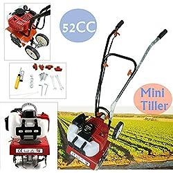 OU BEST CHOOSE Motobineuse à Essence Compact 52cc Motoculteur de Jardinage Cultivateur Thermique, 2 Temps/ 1.45KW/ 6500RPM