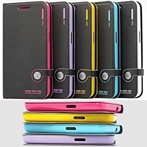 MOONCASE Housse de Protection Coque en Cuir Étui à rabat Case pour Apple iPhone 6 Plus (5.5 inch) Blanc Voilet