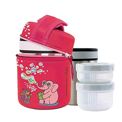 Laken Contenitore Termico per Alimenti Katuki Saguyaki Isotermico Acciaio Inossidabile con Fodera in Neoprene 1 Litro + 2 Contenitori per Alimenti in PP, Pompas