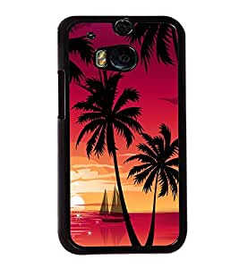 printtech Beach Palm Trees Boat Back Case Cover for Huawei Honor 7 Enhanced Edition; Huawei Honor 7 Dual SIM with dual-SIM card slots