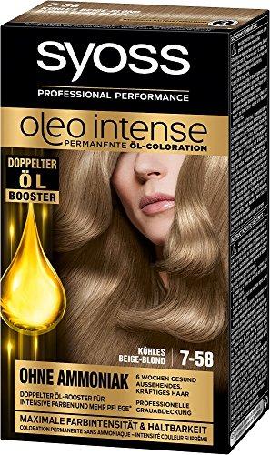 Syoss Oleo Intense 7-58 Kühles Beige-Blond Haarfarbe, 3er Pack (3 x 115 ml)