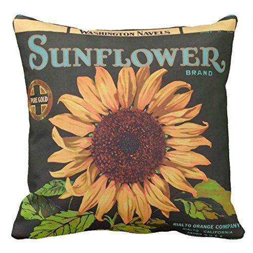 Zierkissenbezüge Sunflower Brand Orange Fruit Crate Label Sofa Pillow Cover Decorative Couch Cushion Cover for Living Room Canvas Slipcover 45 x 45cm - Orange Crate Label