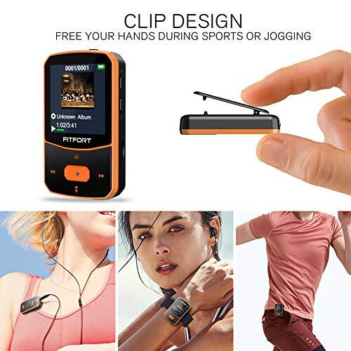 Reproductor MP3 Bluetooth 4.1 -  MP3 Bluetooth Running,  Sonido de Gama Alta,  Radio FM,  Grabación de Voz,  E- Book,  Podometro,  Pantalla de Color de 1.5 Pulgadas,  Soporte hasta 128GB Tarjeta