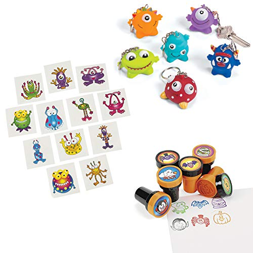 cama24com Lustige Monster Mitgebsel Set Schlüsselanhänger Kinderstempel und Tattoos 48 Teile Palandi®