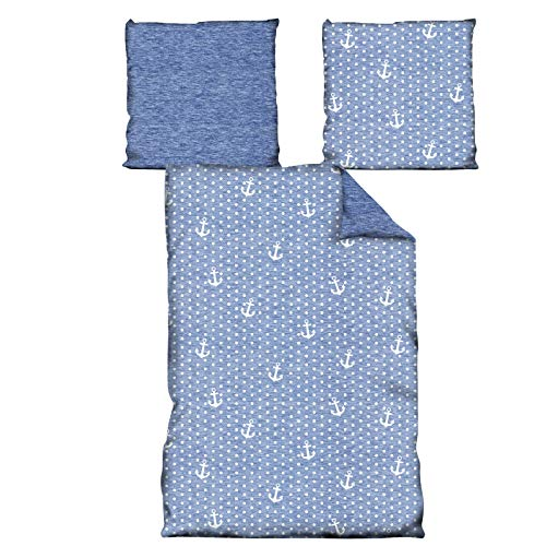 JEMIDI Bettwäsche 2 teilg 135cm x 200cm Bett Garnitur Set Bettdecke Kopfkissen Bettbezüge Bettbezug Singlebett Bettengarnitur Mädchen Jungen (Anker)