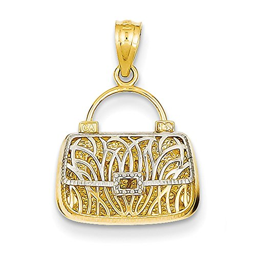 14K Gelb Gold Reversible Mutter Handtasche Anhänger C3222 (14k Handtasche)
