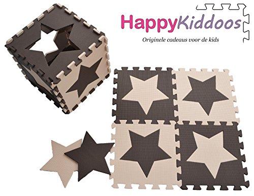 Happykiddoos Puzzlespielmatte 10 Foam Matte. Spielmatte Schaumstoff Verriegelung Puzzle Kinderteppich. Jede Matte hat eine Größe von 30x30cm und ist 1 cm dick (Stern, (Hat Schaumstoff Kind Braun)