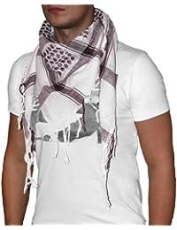 niki-orange® Dot Pali Schal, Tuch, Palästinenserschal, Arafat, in Weiß/Braun