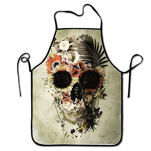 Floral Taft (LarissaHi Grillschürze, Küchenchef, Profi für Grillen, Backen, Kochen für Männer Frauen-Floral Skull)