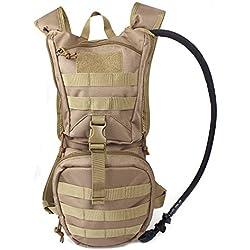 Unigear Hydration Rucksack Trinkrucksack Taktischer Hydrapack-Trinkblase mit Trinkschlauch Backpack mit 2,5 l Wasser-Blasen perfekt für Wandern Radfahren Joggen, Spazieren Klettern und Bergsteigen (Braungelb)