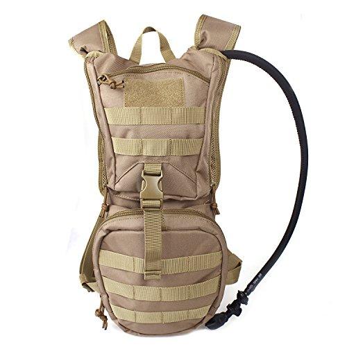Unigear Hydration Rucksack Trinkrucksack Taktischer Hydrapack-Trinkblase mit Trinkschlauch Backpack mit 2,5 l Wasser-Blasen perfekt für Wandern Radfahren Joggen, Spazieren Klettern und Bergsteigen (Braungelb) (7 Shorts Tactical)
