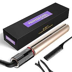 BUDDYGO Haarglätter Professionell Glätteisen mit 3D-Konkav Spiral Keramik Heizpaneel Ionen Mini Haarglätter LCD Einstellbarer Temperatur, zum Glätten & Locken, für Haarpflege & Haarstyling (Black)