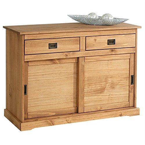 IDIMEX Buffet Savona bahut vaisselier Commode avec 2 tiroirs et 2 Portes coulissantes, en pin Massif lasuré Brun