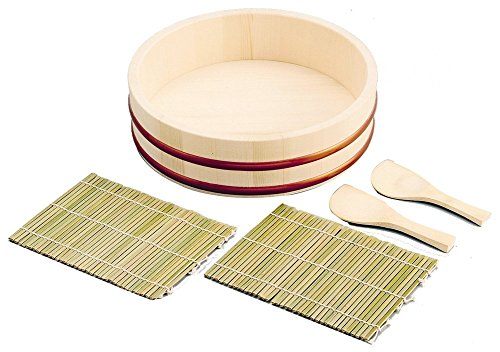 Japanese Sushi Making Set Includes: 1 Wooden Hangiri, 2 Bamboo Rolling Mat, 2 Bamboo Rice Paddle