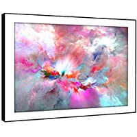 BFAB1218F Framed Picture Print Wall Art - Fuchsia Pink Blue Cloud Modern Abstract Landscape Living Room Bedroom Piece Home Decor Easy Hang Guide (115x81cm)