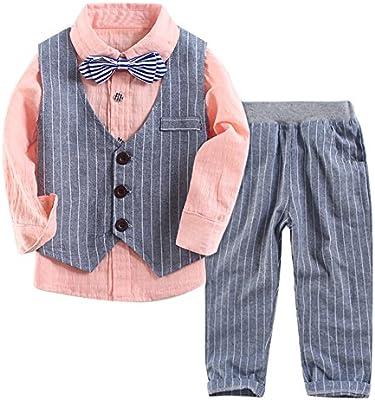 Le SSara Camisa de manga larga de caballero de niños y chaleco de rayas y pantalones Trajes de 3 pieza