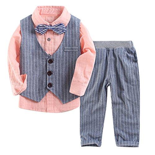 Le SSara Ragazzi camicia a maniche lunghe gentiluomo & maglia a strisce & pantaloni 3 pezzo abiti (12-18 Mesi) - 3 Strisce