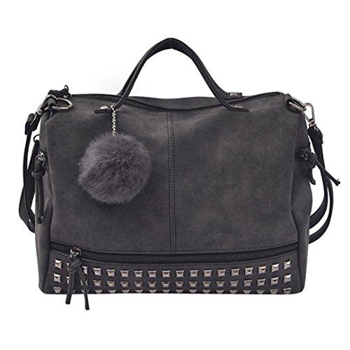 Resplend Damen Damen Rucksack PU-Leder Handtasche Nieten Schultertaschen Haarball Anhänger Messenger Taschen Reißverschluss Diagonales Paket Umhängetasche (Schwarz)