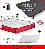 MICAMAMELLAMA Colchón Viscoelástico VISCO Confort Fresh 3D Reversible + Base Tapizada con Patas 26cm +...