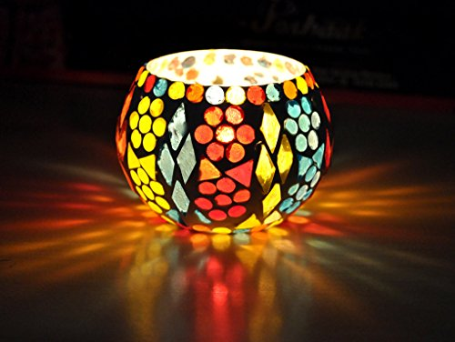 Home Decorative Mosaic Glass Crafted Votive Candle Holder Yankee 8 Cm