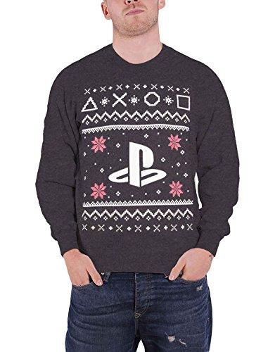 Playstation Sweatshirt Christmas Jumper PS4 Logo Nue offiziell Herren Grau