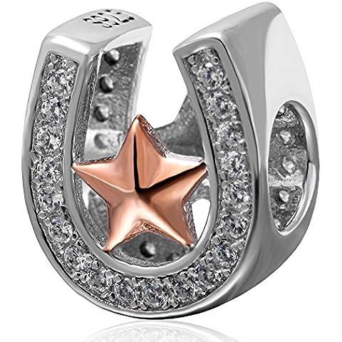 soulbead buena suerte herradura encanto con Rose oro estrella 925plata de ley Clear Cubic Zirconia Bead compatible con European marca pulsera joyas