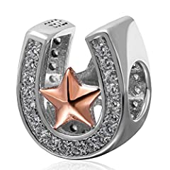 Idea Regalo - Ciondolo, a forma di zoccolo di cavallo porta fortuna, con stella in oro rosa, in argento Sterling 925, perlina in zirconia cubica trasparente, adatto ai braccialetti europei